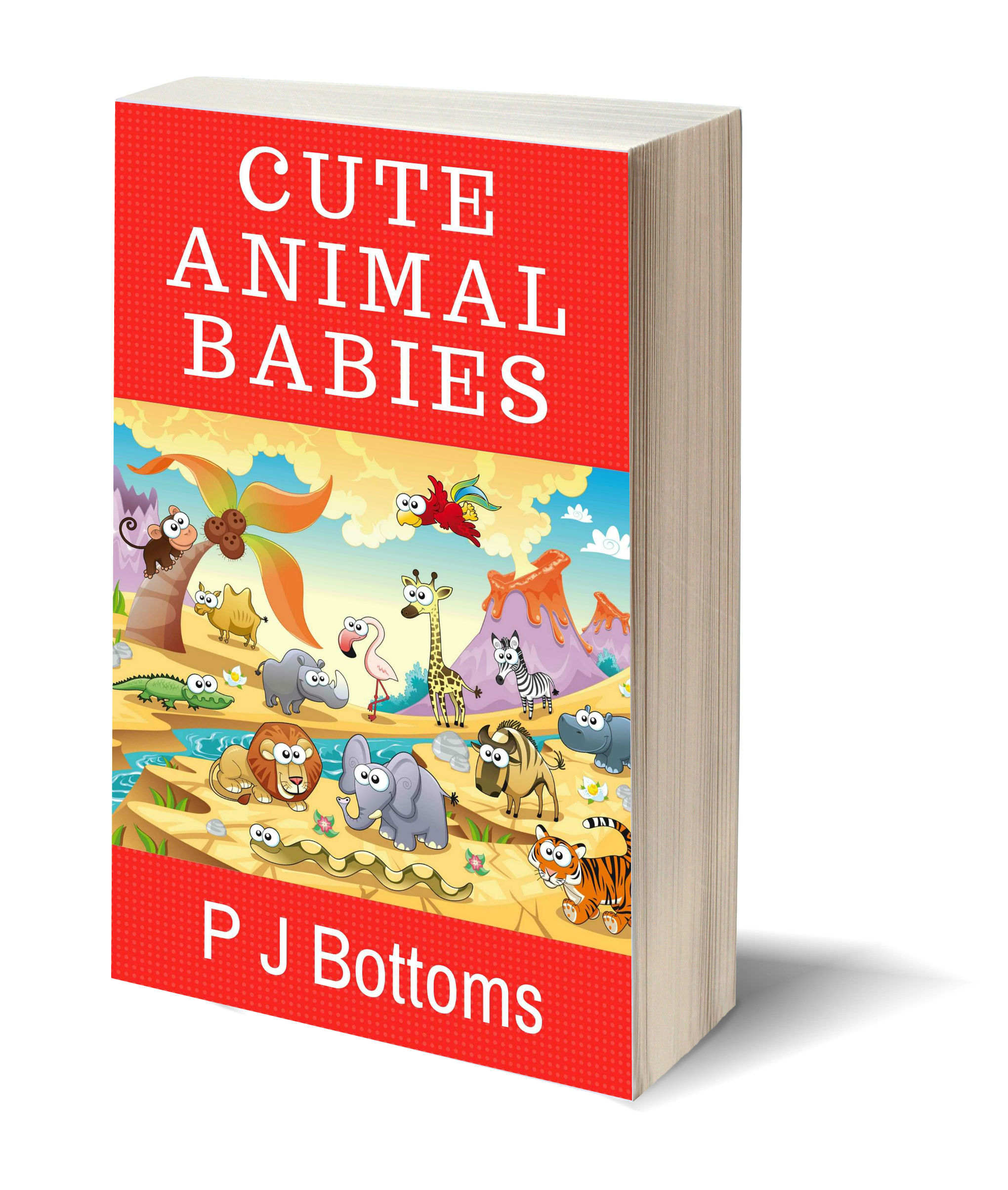 Cute animal babies 3D-Book-Template